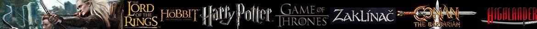Fantasy Meče: Pán prstenů, Hobit, Hra o trůny, Zaklínač, Harry Potter, Higlander, Conan, Walking Dead