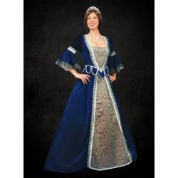 Renesanční Šaty Modré Damaškové