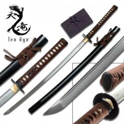Samurajský meč Damaškový Ten Ryu Hnědý