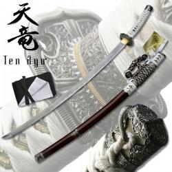 Tači Samurajský meč damaškový bílý Ten Ryu