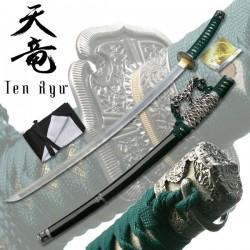 Tači Samurajský meč damaškový zelený Ten Ryu